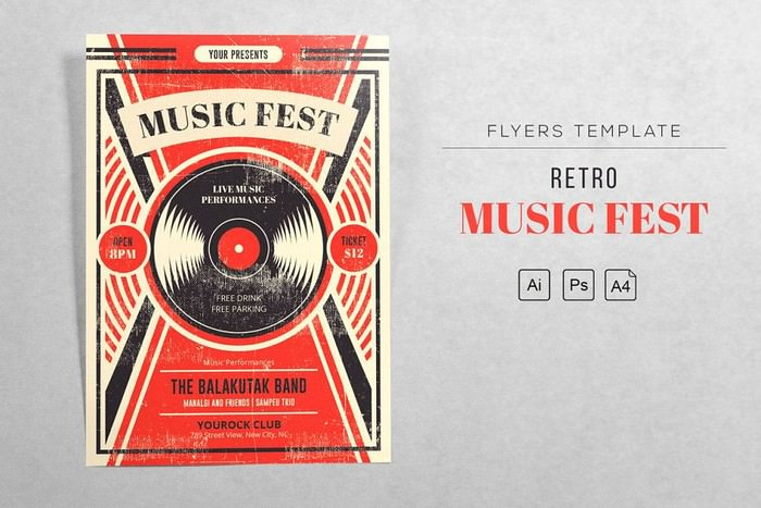 Music Fest Retro - Vinyl Flyer