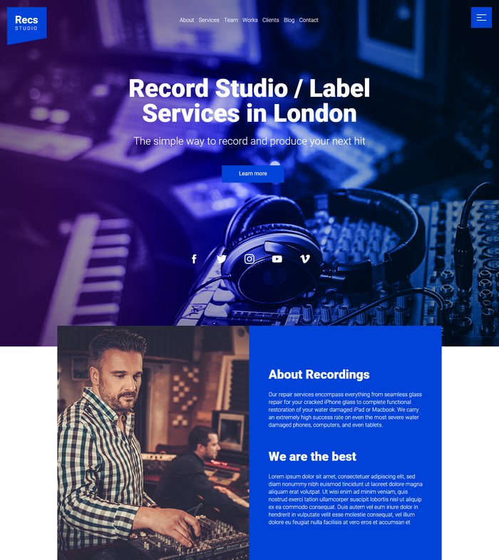 Recordings Responsive Muse Template