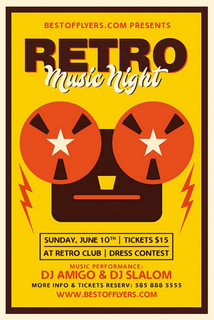 Retro Music Night Free Poster