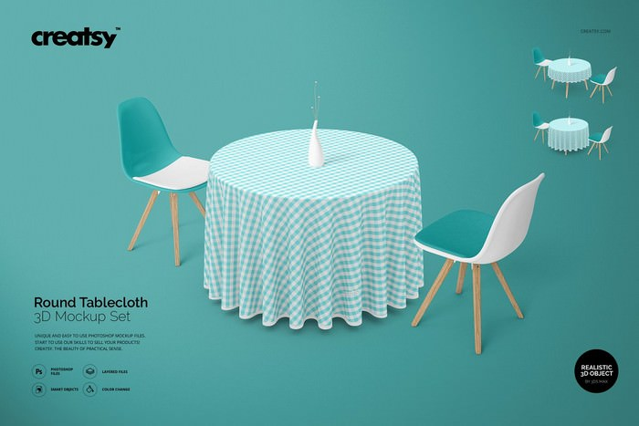 Round 3D Tablecloth Mockup