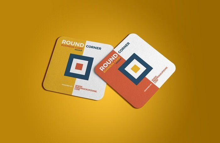 Square Round Corner Business Card Mockup