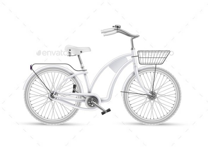 Vector White Bicycle Realistic Isolated Mockup