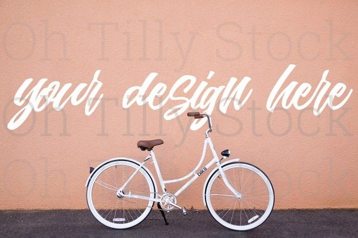 Vintage Bicycle Wall Mockup