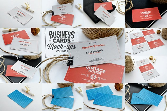 Vintage Business Cards Mock-ups