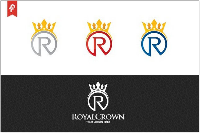 minimalist and modern Royal Crown Logo Template