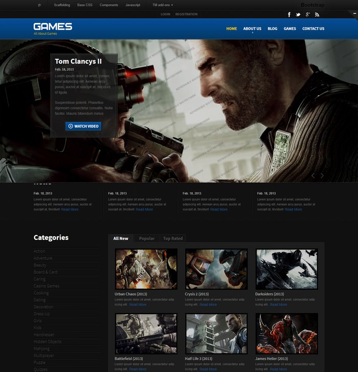 All Games Responsive Website Template