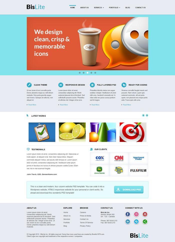 BisLite Free HTML Website Templates