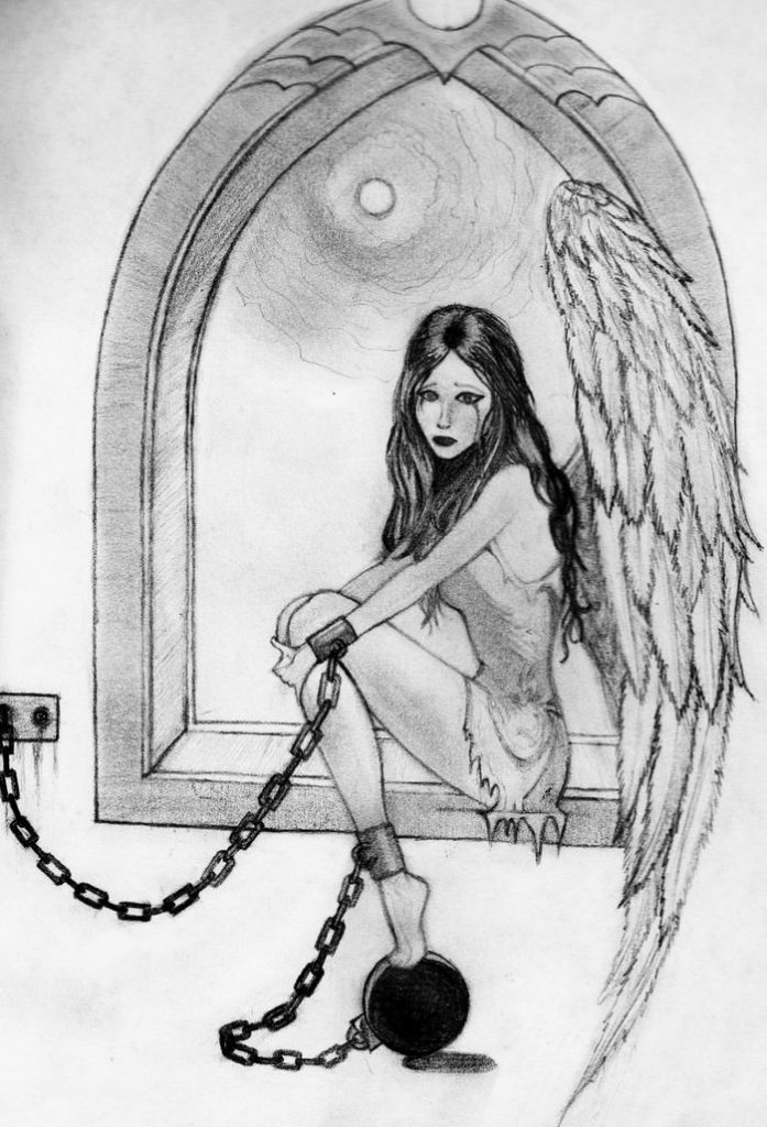 Captive Angel Pencil Sketch