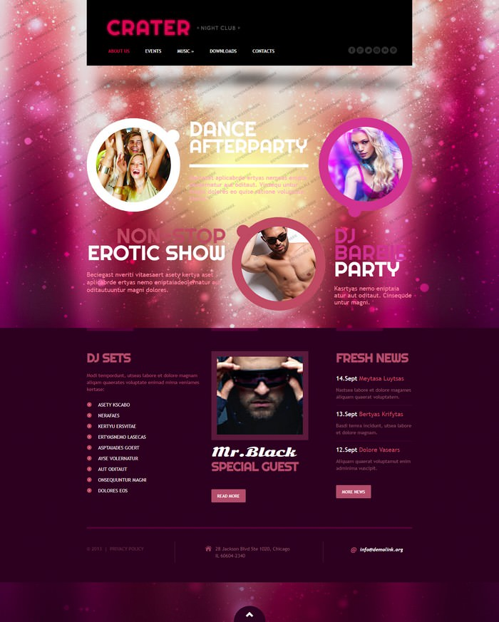 Crater Night Club Responsive Website Template
