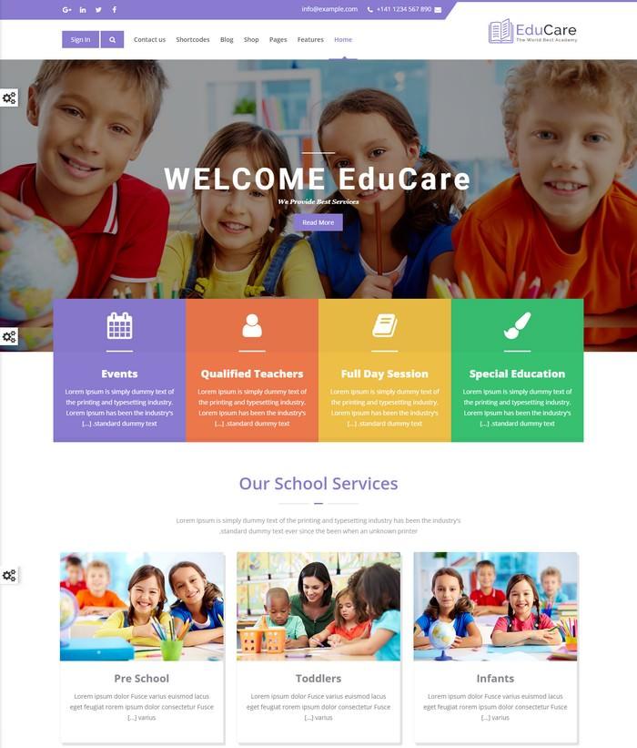 EduCare - retina ready website template