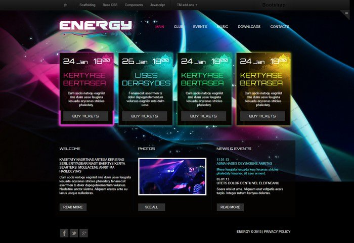 Energy Night Club Website Template