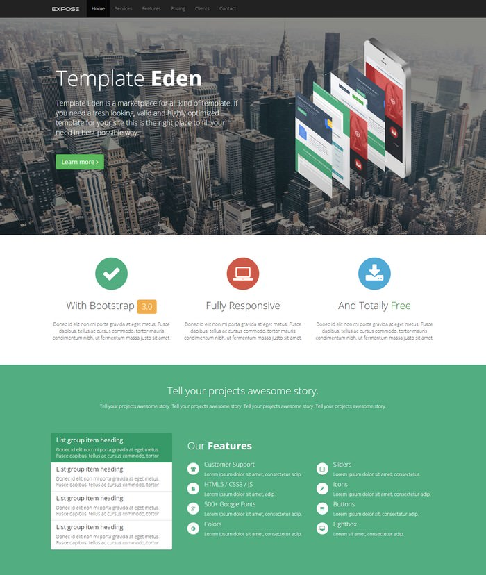 Expose - Single Page Website Template