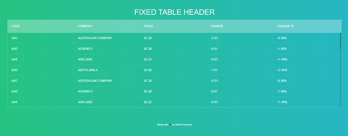 Fixed Table Header