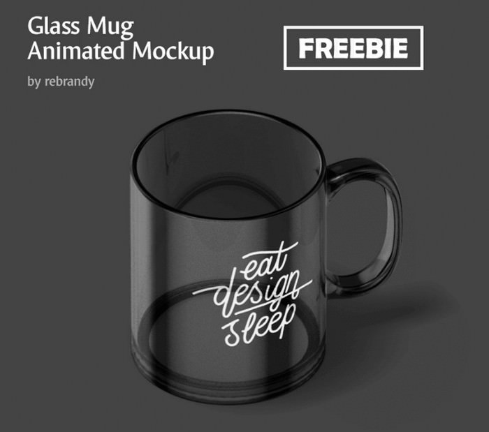 Freebie Glass Mug Animated Mockup