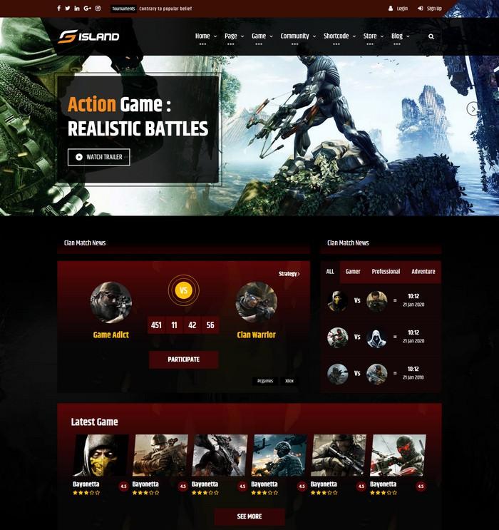 Game Island Website Template