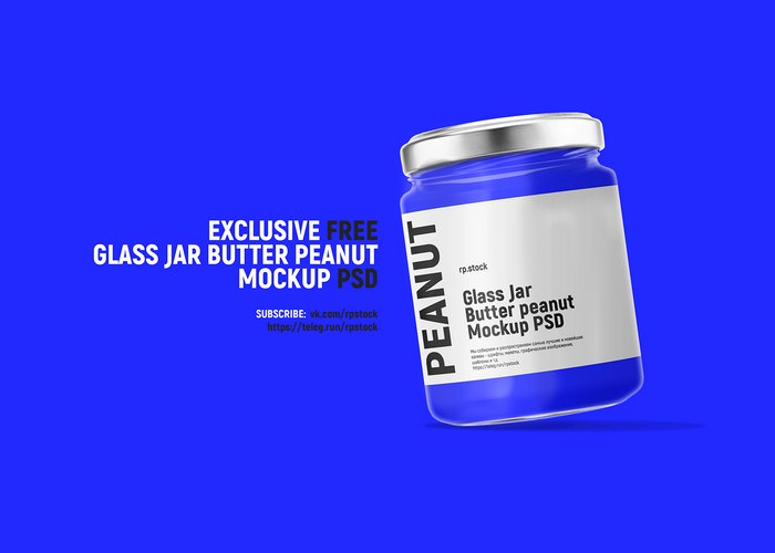 Glass Jar Butter Peanut Mockup