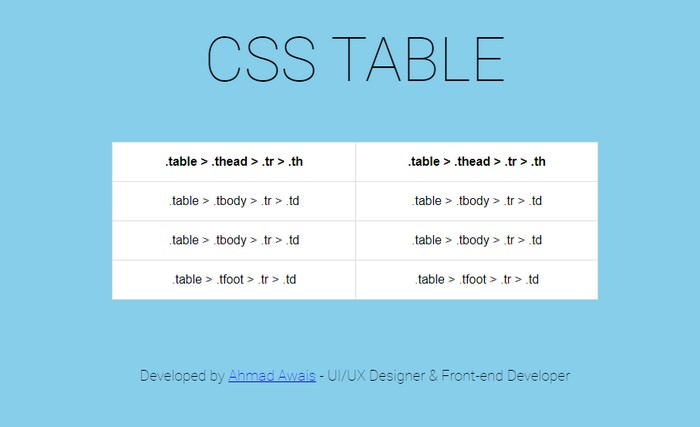 HTML Table & CSS Table
