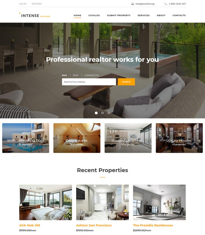 INTENSE Real Estate retina ready website template
