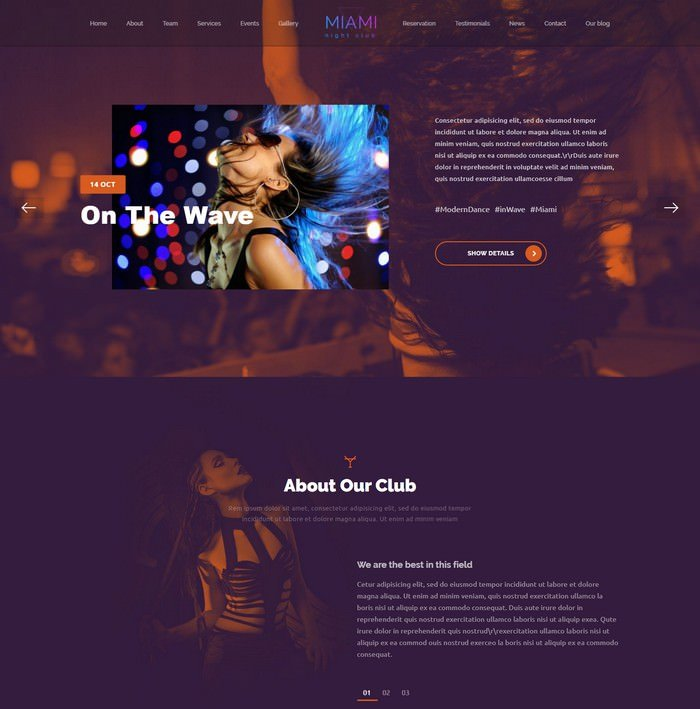 Miami - Night Club HTML Template