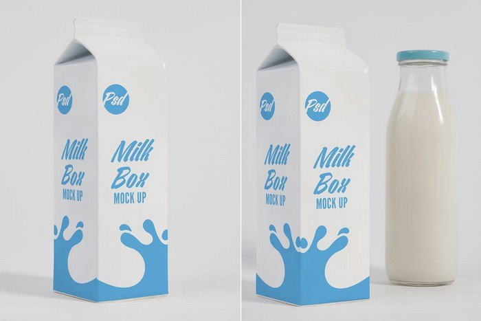 Milk Box and Glass Mock Up