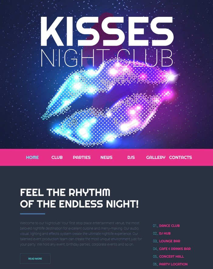 Nighttime Entertainment Website Template