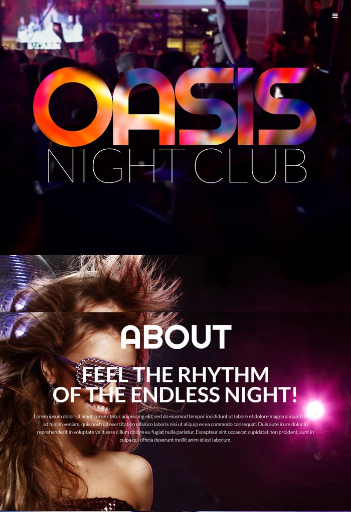 Oasis Night Club Responsive Website Template