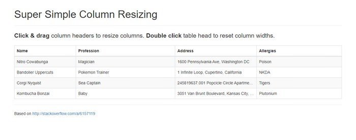 Resizable Table Columns