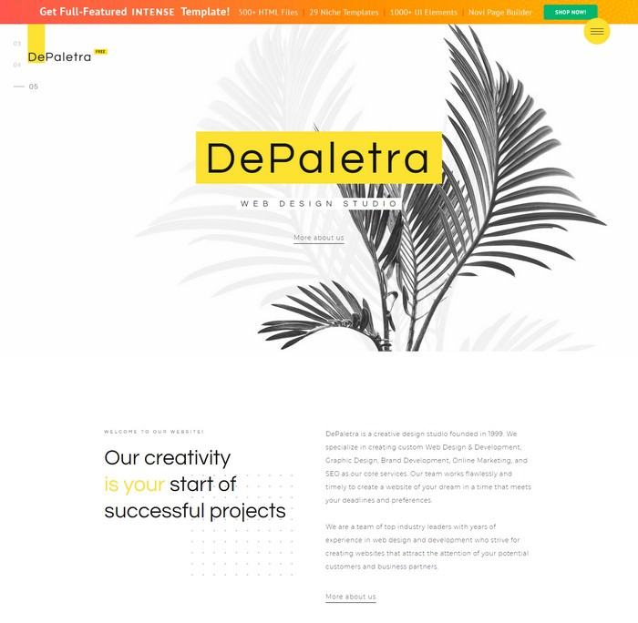 Single Page Website Template in Flat Design
