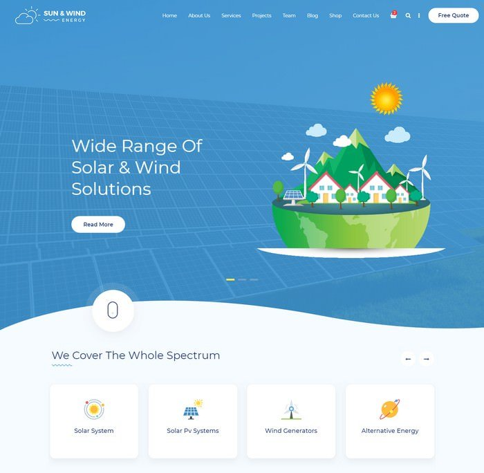 Sun and Wind Energy retina ready website template