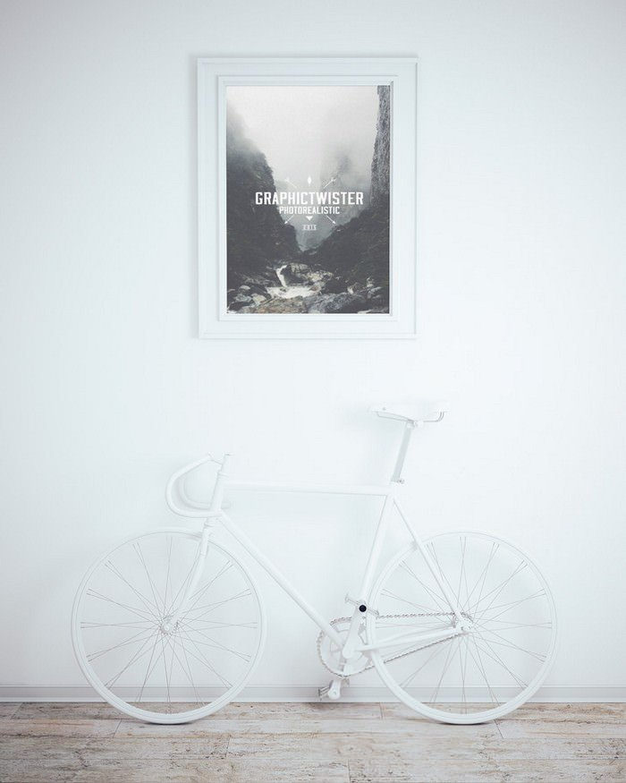 Wall Frame Mockup With Bicycle