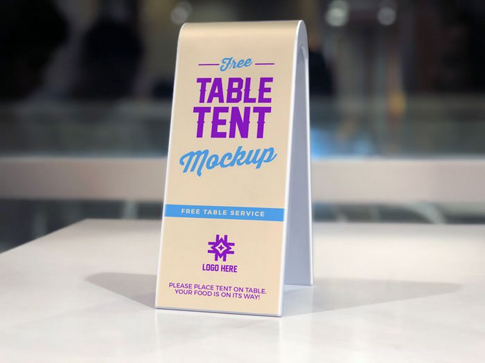 Sided Plastic Table Tent Mockup
