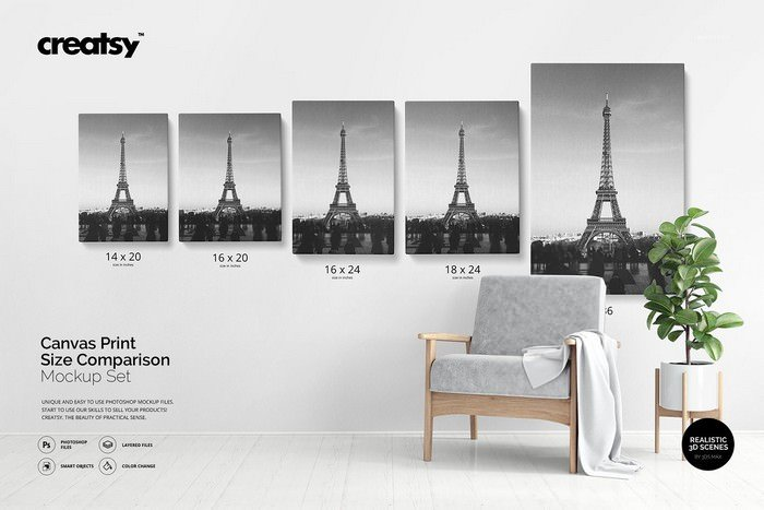 Canvas Print Size Comparison Mockup