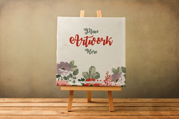 Canvas on Wooden Stand Mockup