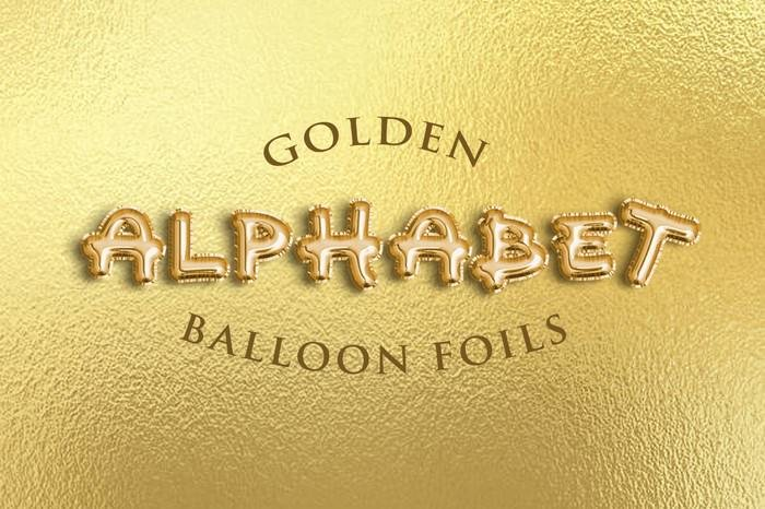 Golden Alphabet Balloon Foils Free Psd