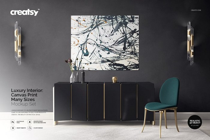 Luxury Interior Canvas Print Mockup
