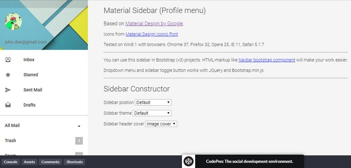 Material Design - Sidebar