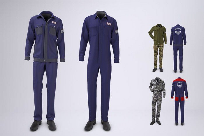 Mechanic Uniform with Jacket and Coveralls Mock-up