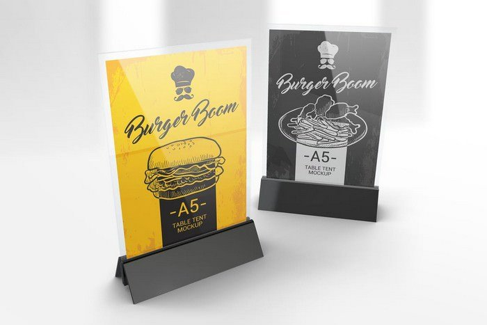 Menu Holder Table Tent Mockups