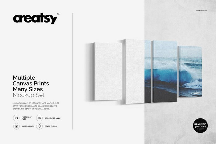 Multiple Canvas Prints Mockup Set