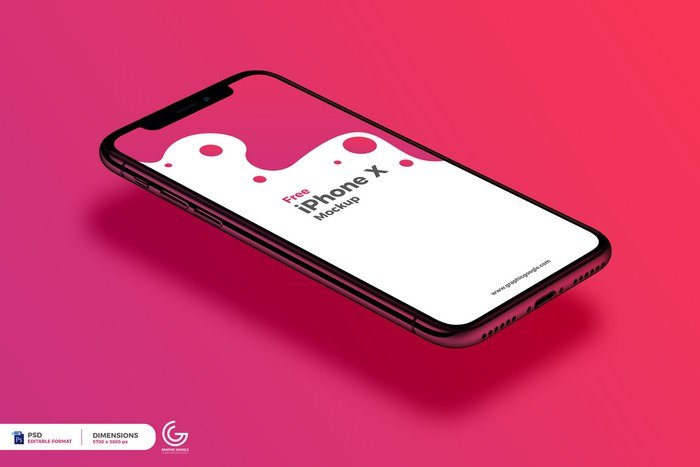Perspective View iPhone X Mockup