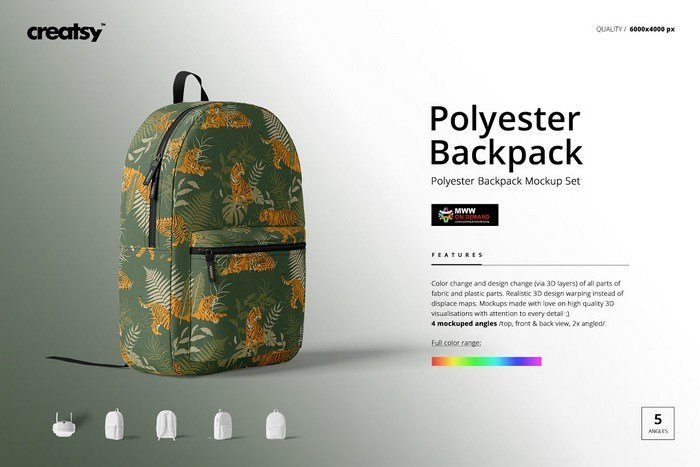 Polyester Backpack Mockup