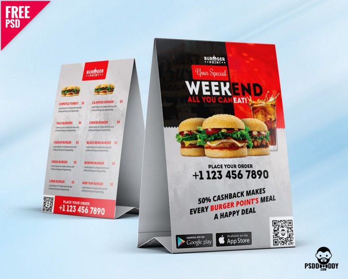Restaurant Table Tent Menu PSD