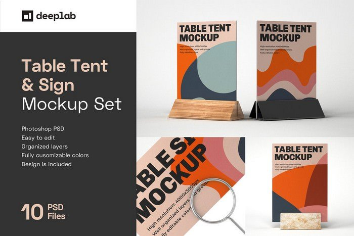 Table Tent and Sign Mockup