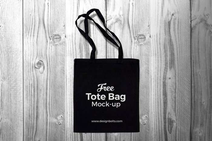 Black Cotton Tote Shopping Bag Mock-up