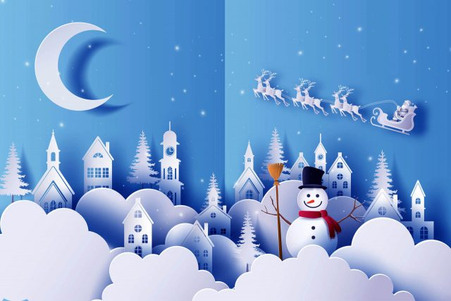 Moon Sleigh Snowman Christmas Winter HD Wallpaper-1920 × 1280