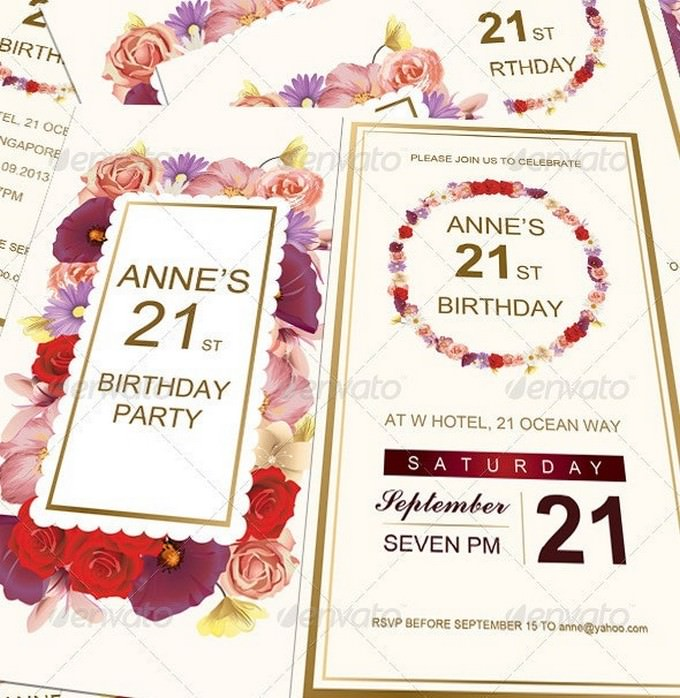 Anne's Birthday Invitation Card Template