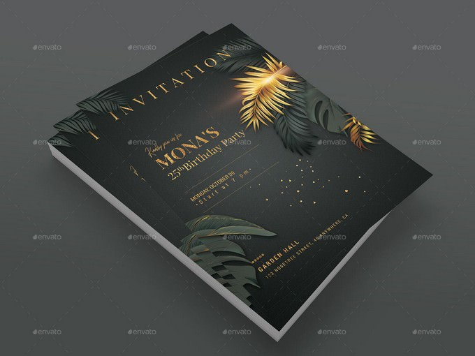 Black Gold - Birthday Invitation