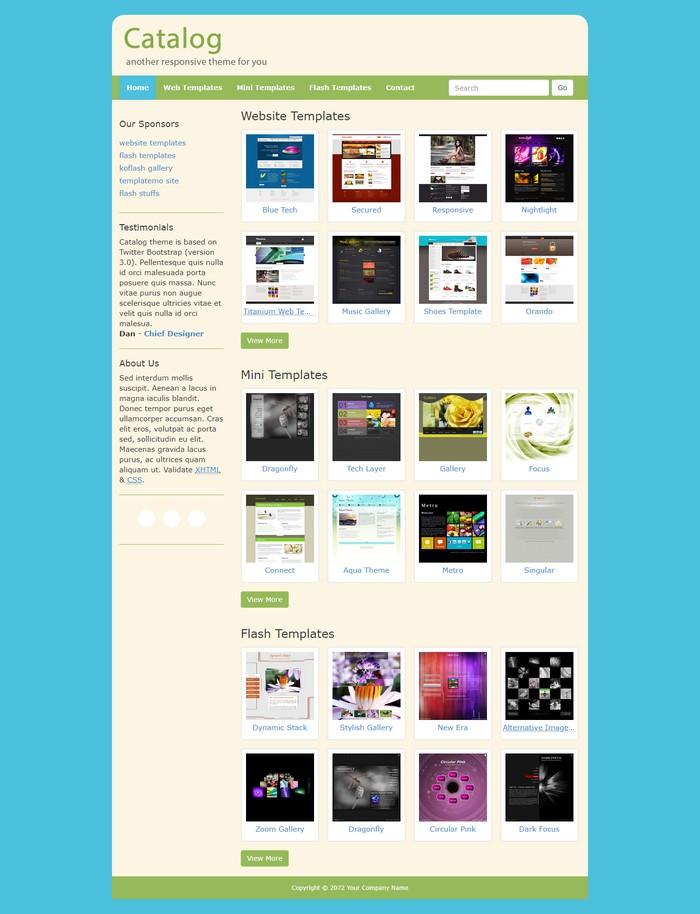 Catalog Dreamweaver Template