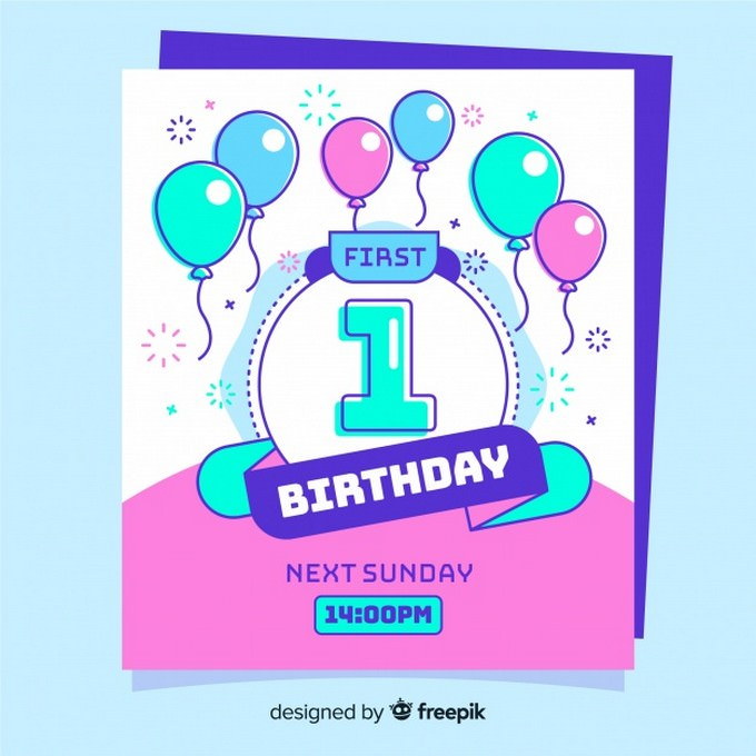 First Birthday Card Template