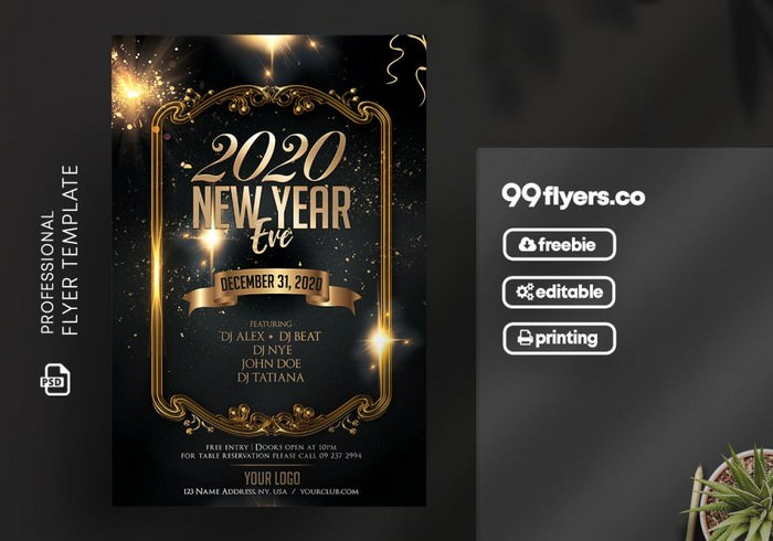 New Year Eve 2020 Free PSD Flyer